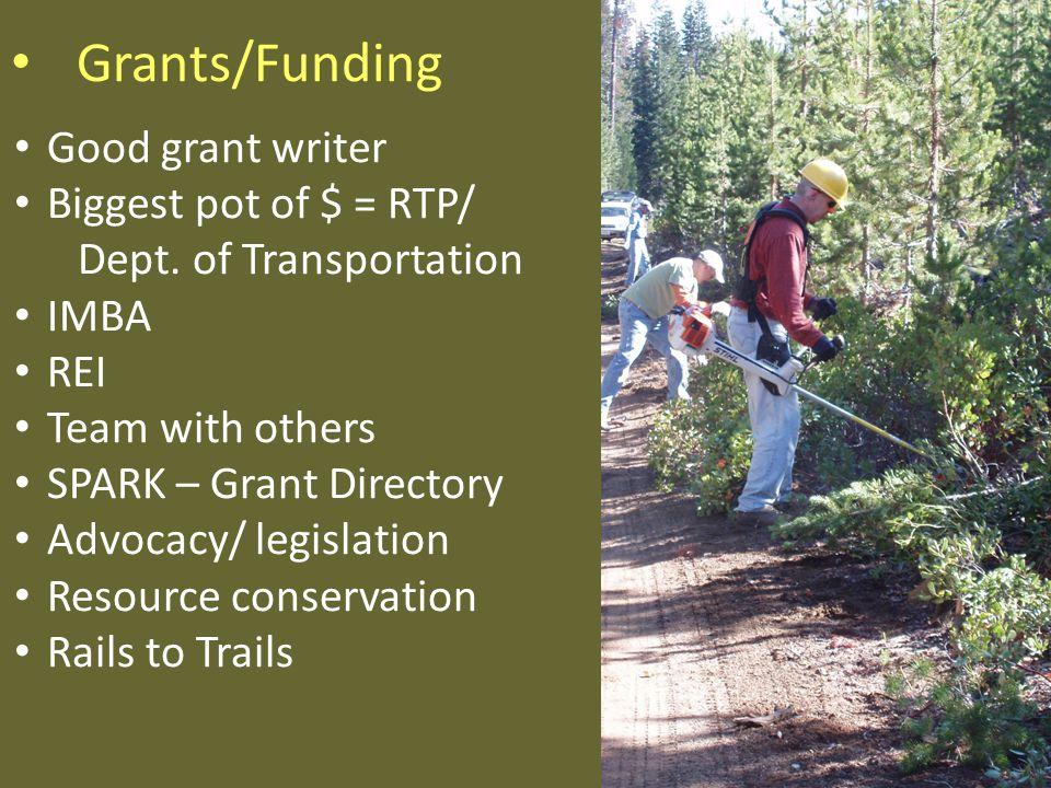 Grants/Funding Good grant writer Biggest pot of $ = RTP/ Dept.