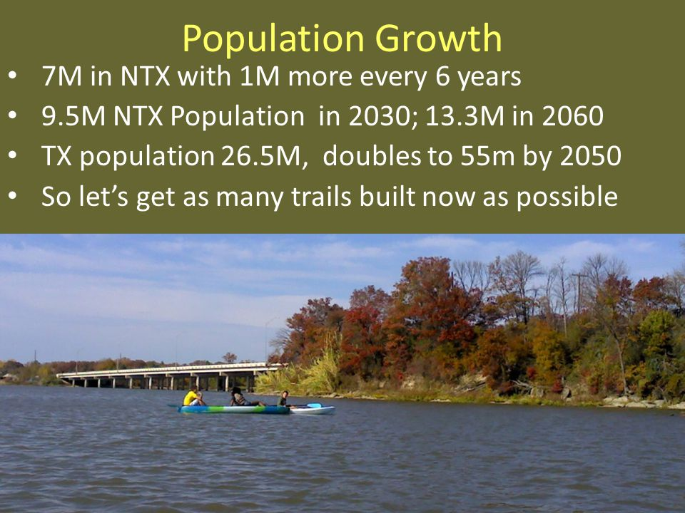 Population Growth 7M in NTX with 1M more every 6 years 9.5M NTX Population in 2030; 13.3M in 2060 TX population 26.5M, doubles to 55m by 2050 So lets get as many trails built now as possible