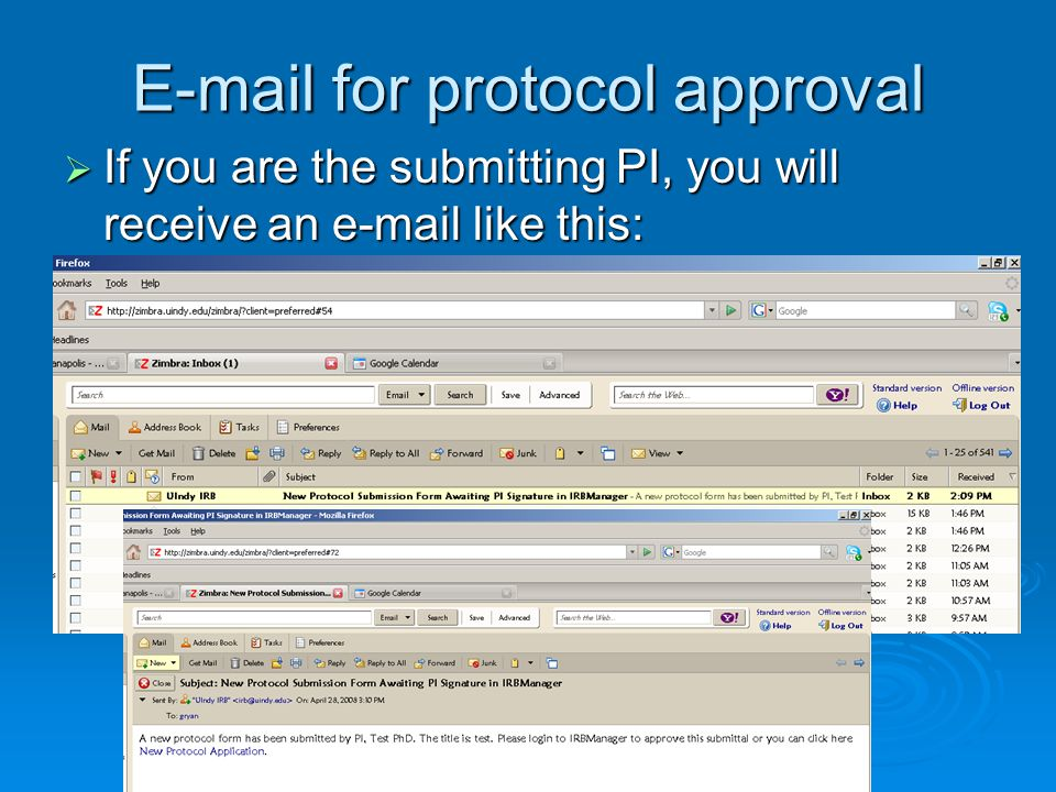 E-mail for protocol approval If you are the submitting PI, you will receive an e-mail like this: If you are the submitting PI, you will receive an e-m