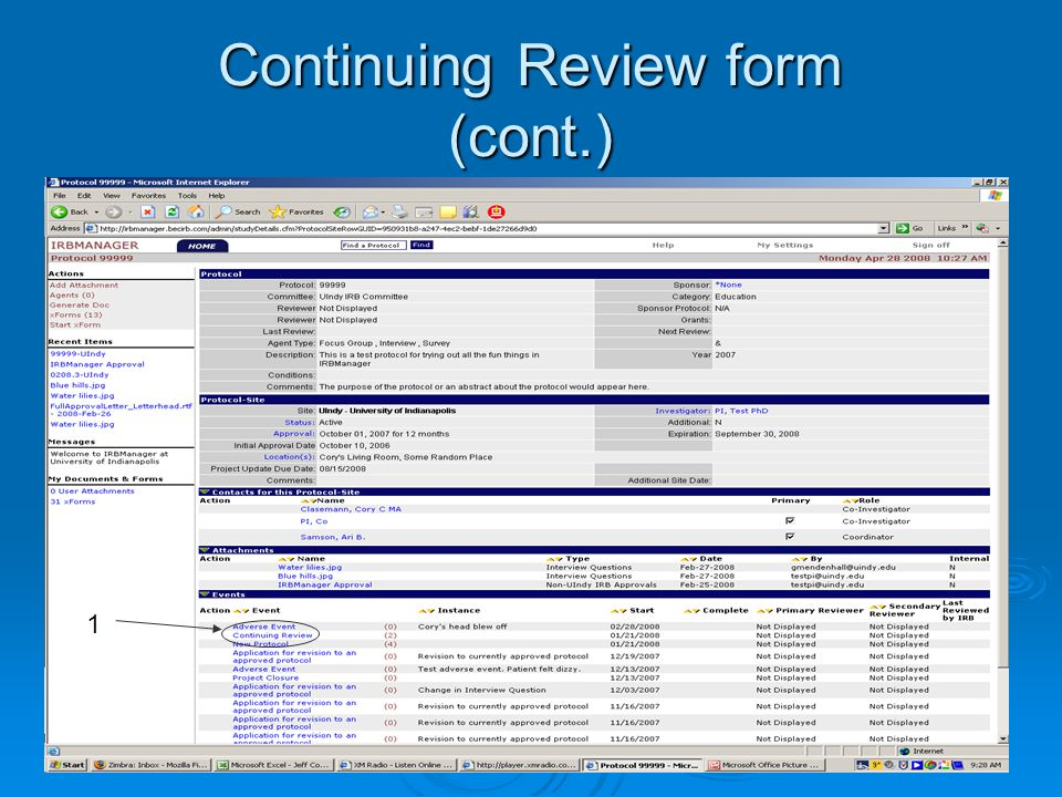 Continuing Review form (cont.) 1
