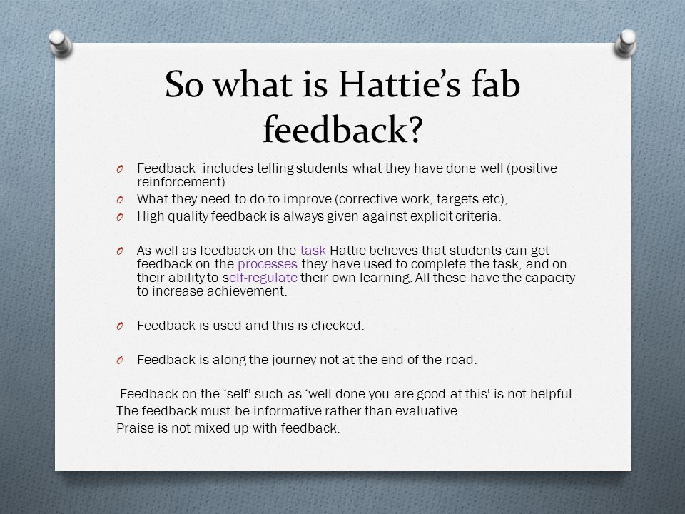 So what is Hatties fab feedback.
