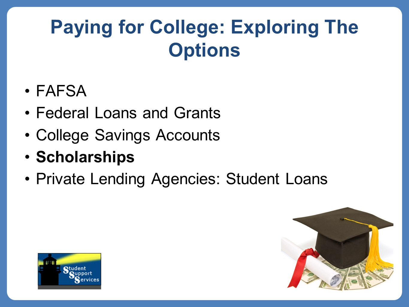Paying for College: Exploring The Options FAFSA Federal Loans and Grants College Savings Accounts Scholarships Private Lending Agencies: Student Loans