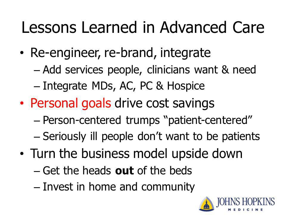 Lessons Learned in Advanced Care Re-engineer, re-brand, integrate – Add services people, clinicians want & need – Integrate MDs, AC, PC & Hospice Pers