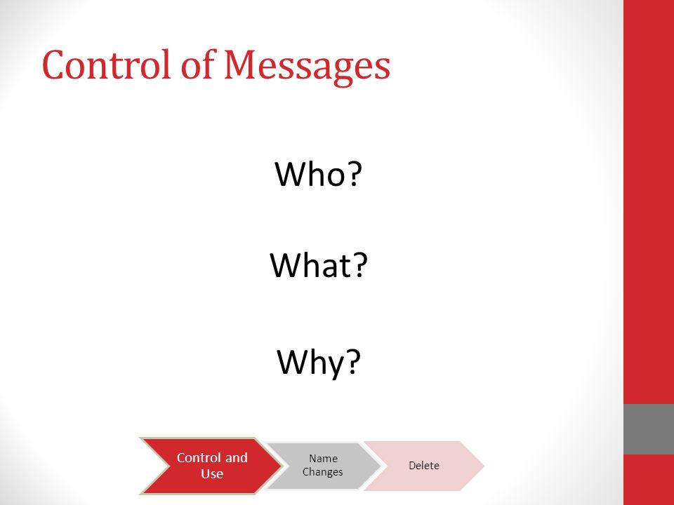 Control of Messages Who What Why Control and Use Name Changes Delete