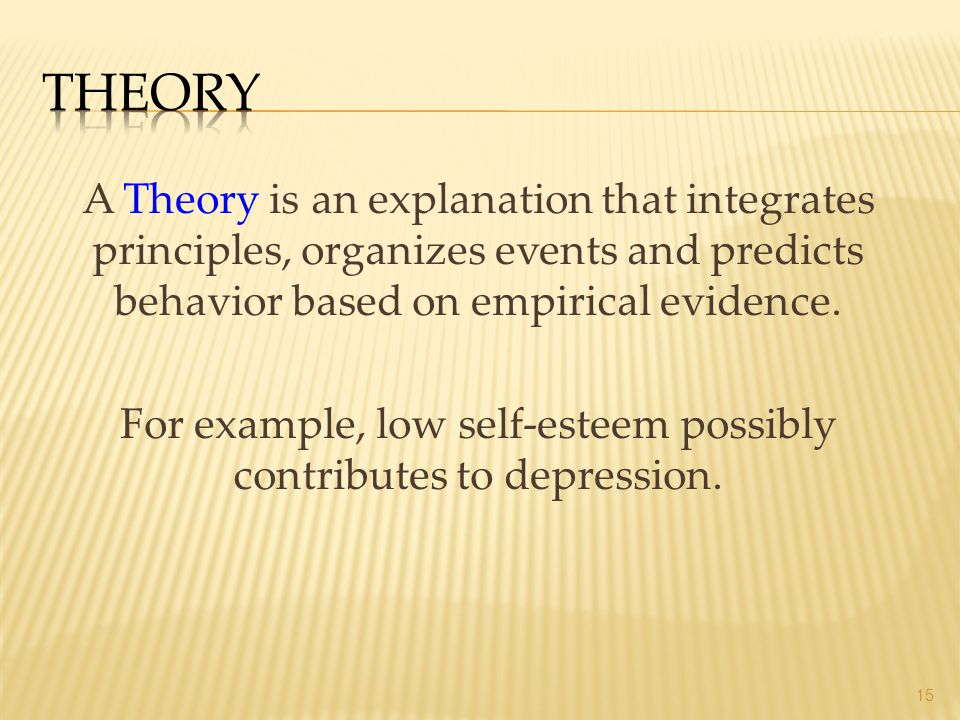 A Theory is an explanation that integrates principles, organizes events and predicts behavior based on empirical evidence. For example, low self-estee
