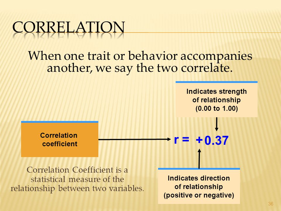 Correlation Coefficient is a statistical measure of the relationship between two variables. 36 When one trait or behavior accompanies another, we say