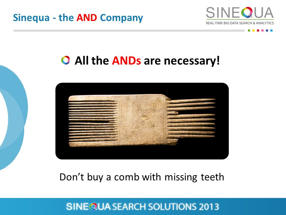 All the ANDs are necessary! Sinequa - the AND Company Dont buy a comb with missing teeth