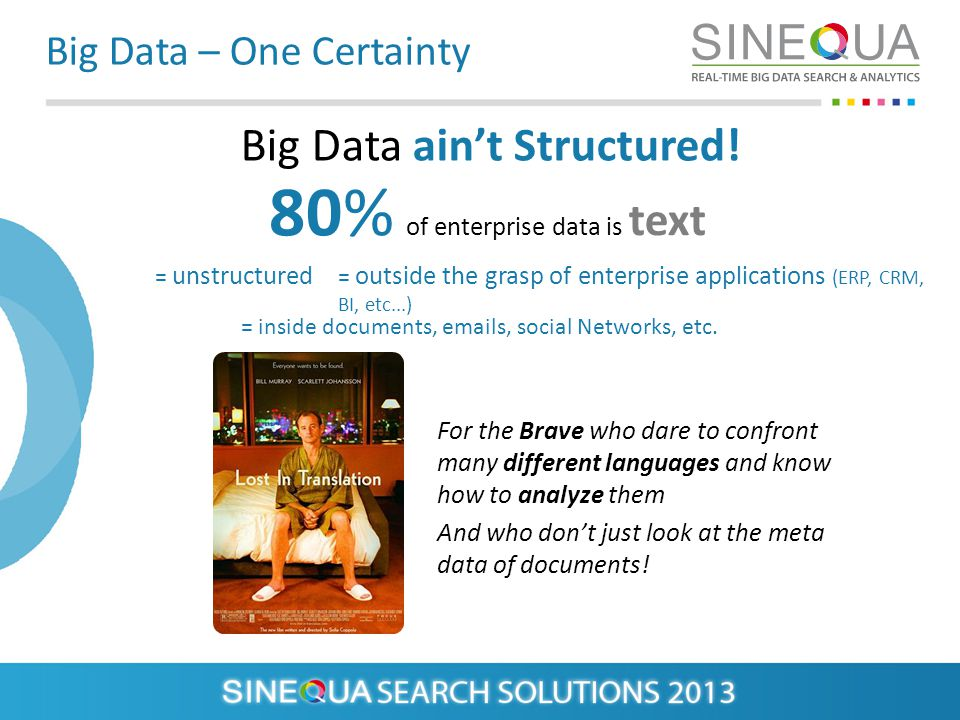 Big Data – One Certainty Big Data aint Structured.