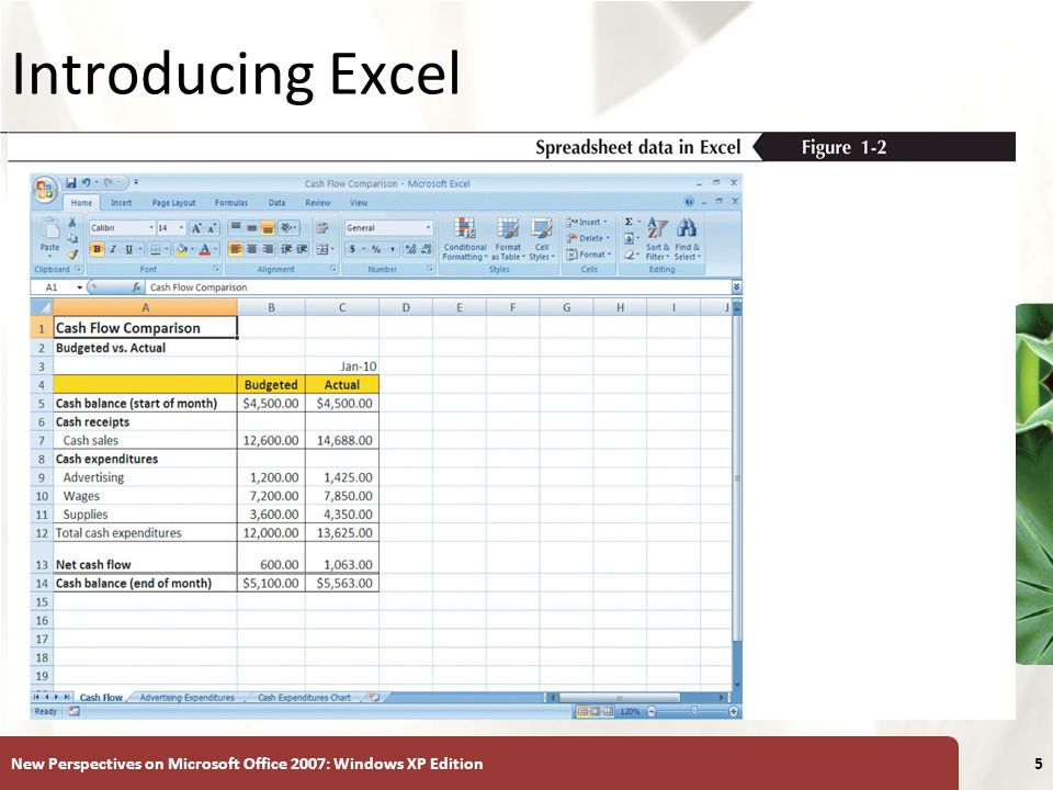 XP New Perspectives on Microsoft Office 2007: Windows XP Edition5 Introducing Excel