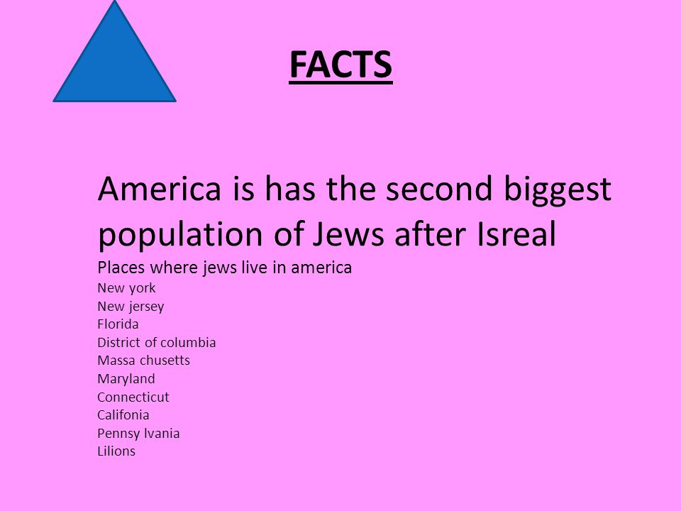 FACTS America is has the second biggest population of Jews after Isreal Places where jews live in america New york New jersey Florida District of columbia Massa chusetts Maryland Connecticut Califonia Pennsy lvania Lilions