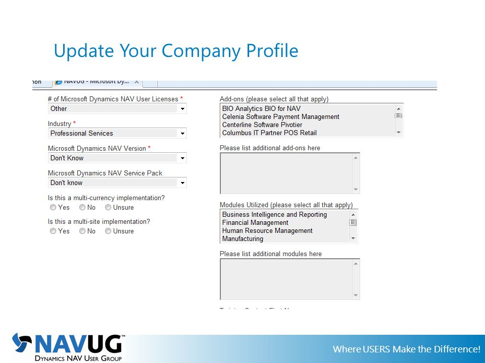 Where USERS Make the Difference! Update Your Company Profile