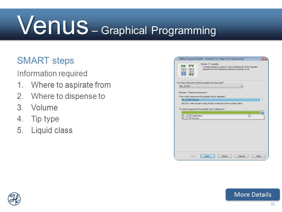 10 Venus – Graphical Programming SMART steps Information required 1.Where to aspirate from 2.Where to dispense to 3.Volume 4.Tip type 5.Liquid class M