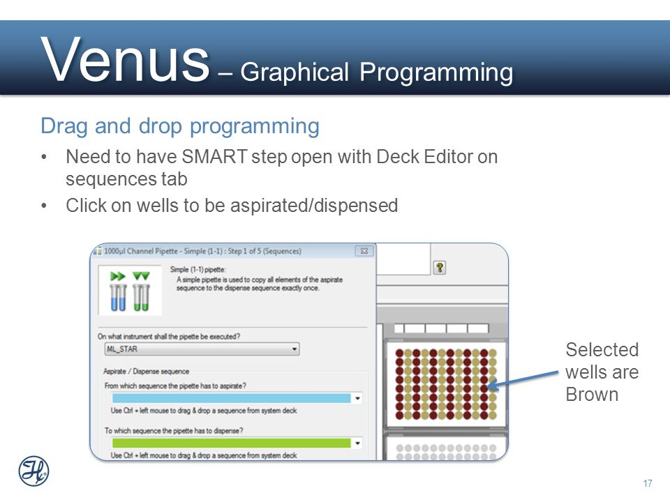 17 Need to have SMART step open with Deck Editor on sequences tab Click on wells to be aspirated/dispensed Venus – Graphical Programming Drag and drop