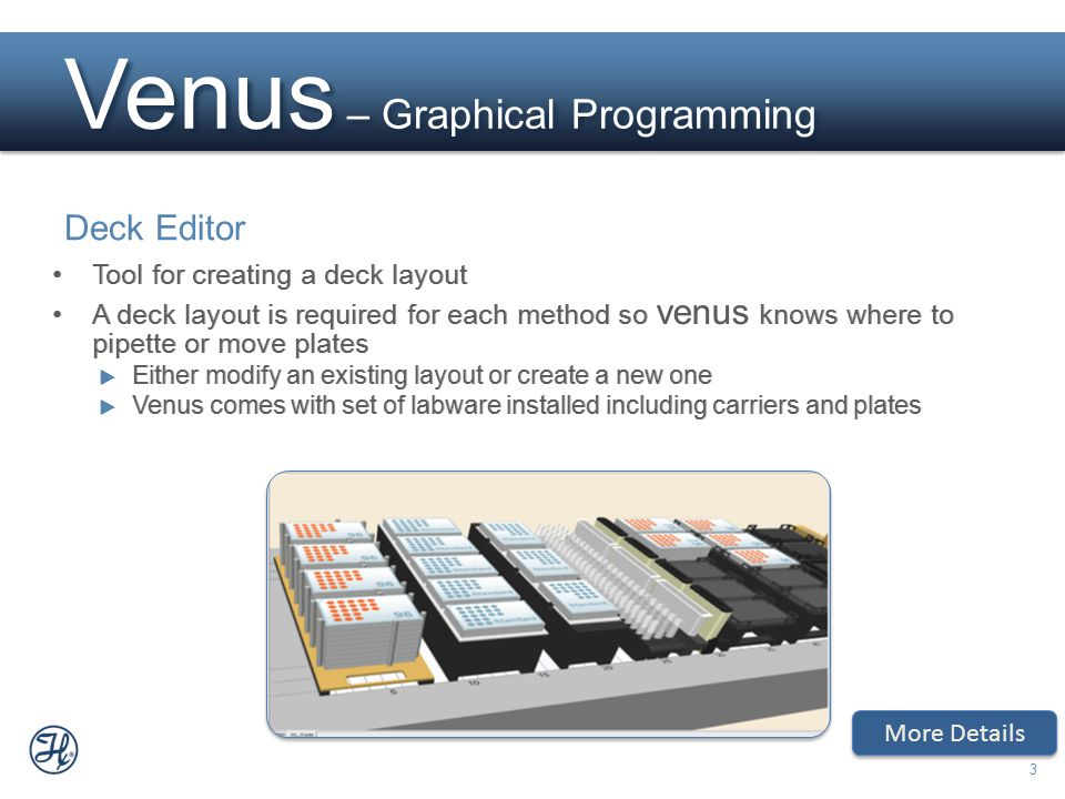 3 Venus – Graphical Programming Deck Editor More Details Tool for creating a deck layout A deck layout is required for each method so venus knows wher