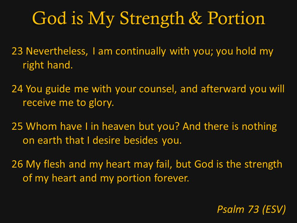 God is My Strength & Portion 23 Nevertheless, I am continually with you; you hold my right hand.