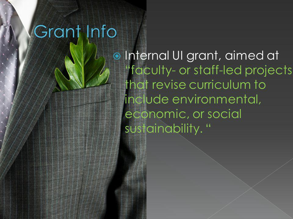 Internal UI grant, aimed at faculty- or staff-led projects that revise curriculum to include environmental, economic, or social sustainability.