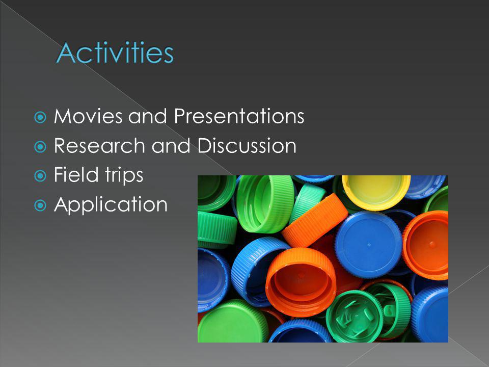 Movies and Presentations Research and Discussion Field trips Application