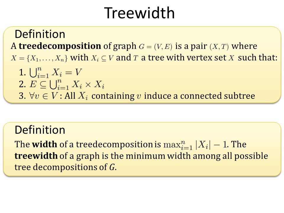 Treewidth 1. 2. 3. : All containing induce a connected subtree A treedecomposition of graph is a pair where with and a tree with vertex set such that: