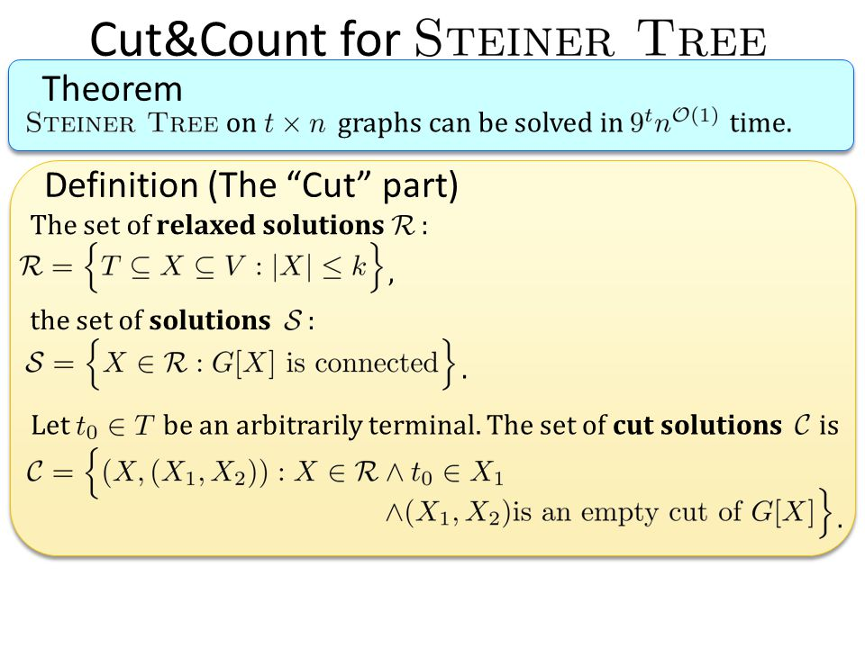 Definition (The Cut part) Cut&Count for Theorem on graphs can be solved in time. The set of relaxed solutions : the set of solutions :,. Let be an arb