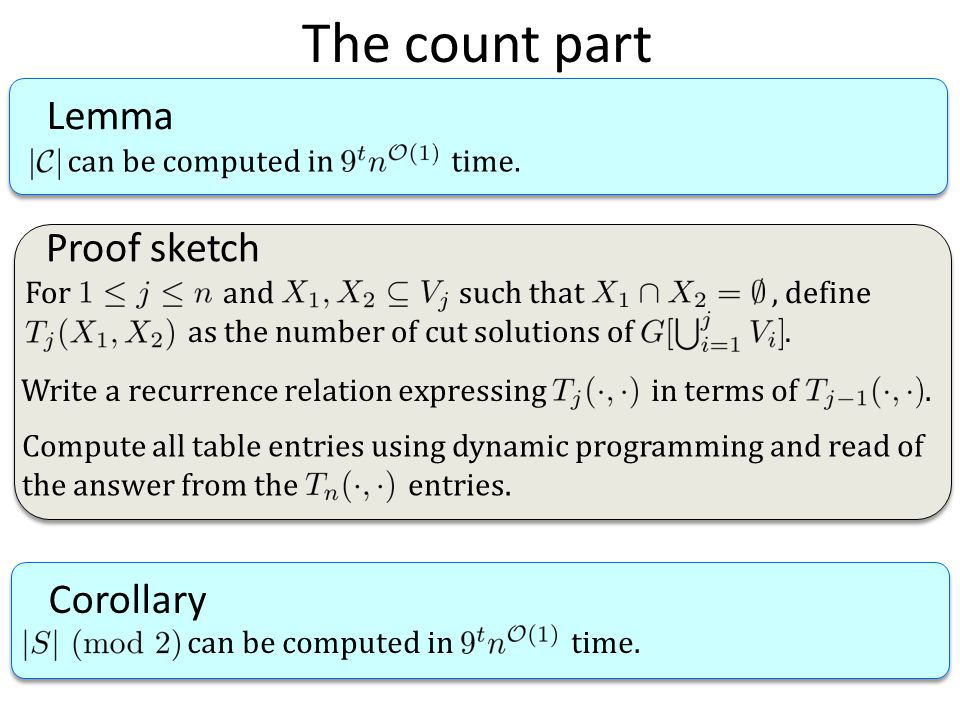 The count part Lemma can be computed in time. Proof sketch For and such that, define as the number of cut solutions of. Write a recurrence relation ex