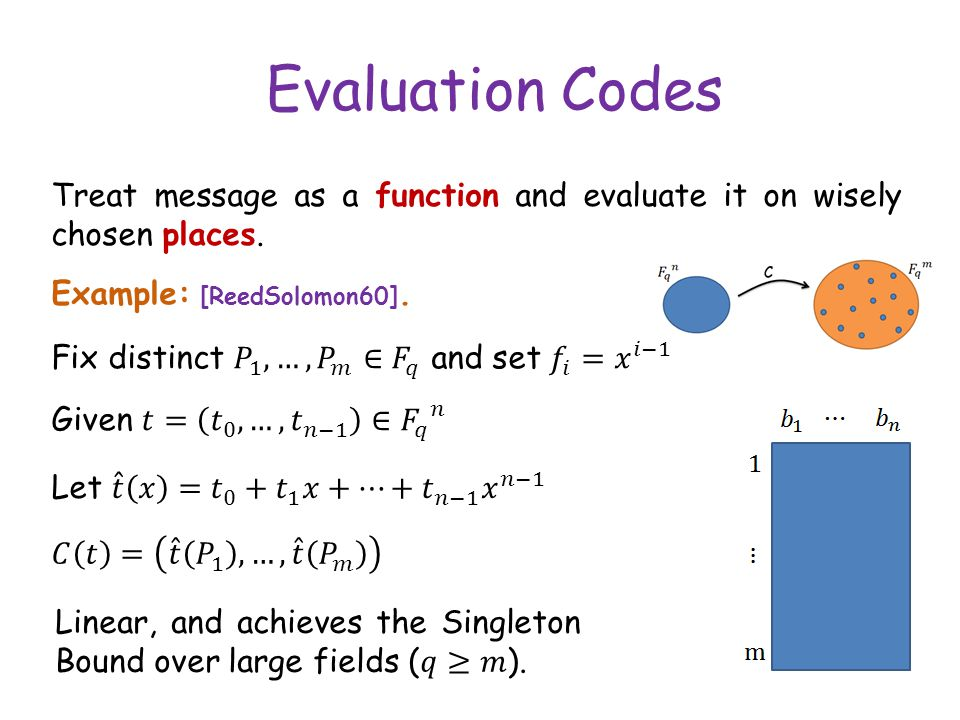 Evaluation Codes Treat message as a function and evaluate it on wisely chosen places.