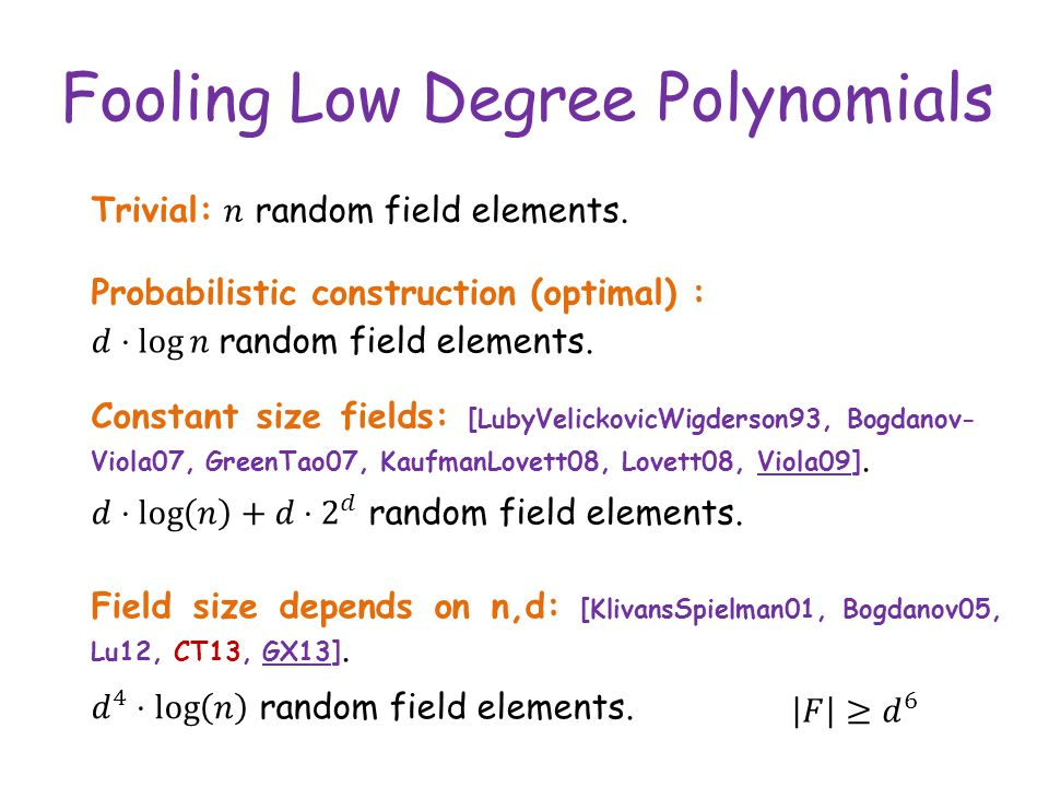 Fooling Low Degree Polynomials