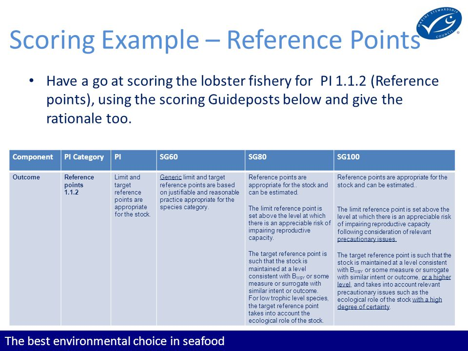 The best environmental choice in seafood Scoring Example – Reference Points Have a go at scoring the lobster fishery for PI 1.1.2 (Reference points), using the scoring Guideposts below and give the rationale too.