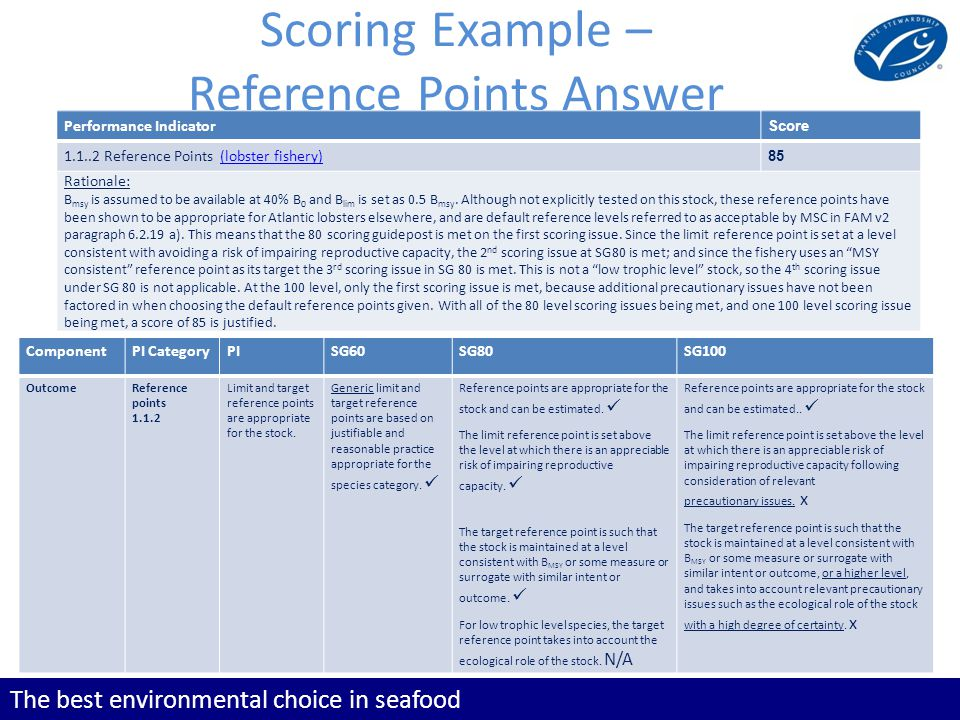 The best environmental choice in seafood Scoring Example – Reference Points Answer Performance Indicator Score 1.1..2 Reference Points (lobster fisher