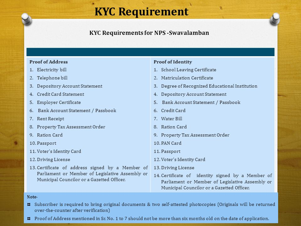 KYC Requirement Proof of Address 1.Electricity bill 2.Telephone bill 3.Depository Account Statement 4.Credit Card Statement 5.Employer Certificate 6.