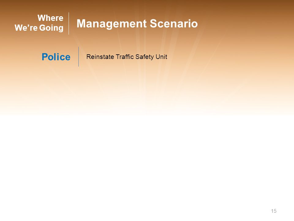 15 Where Were Going Management Scenario Police Reinstate Traffic Safety Unit
