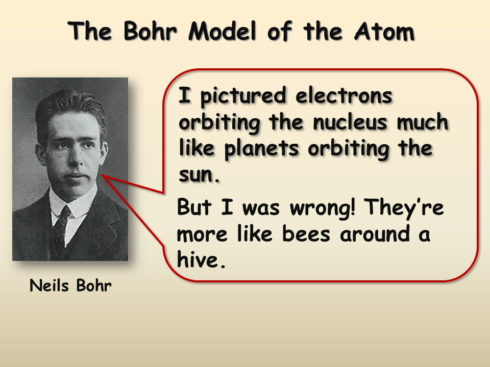 The Bohr Model of the Atom Neils Bohr I pictured electrons orbiting the nucleus much like planets orbiting the sun. But I was wrong! Theyre more like