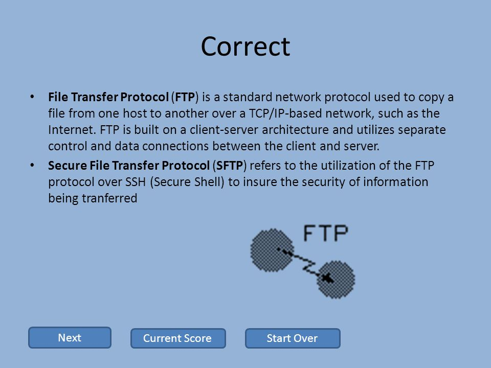 Correct File Transfer Protocol (FTP) is a standard network protocol used to copy a file from one host to another over a TCP/IP-based network, such as the Internet.