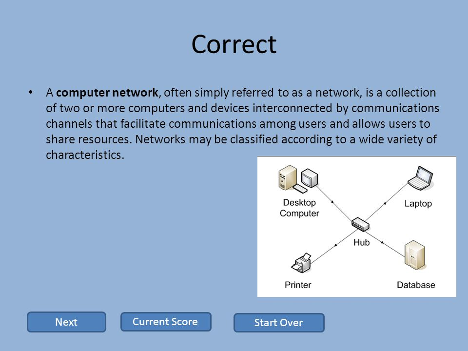 Correct A computer network, often simply referred to as a network, is a collection of two or more computers and devices interconnected by communications channels that facilitate communications among users and allows users to share resources.