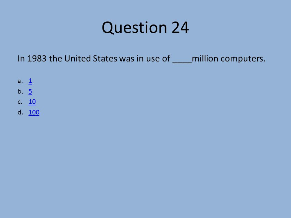 Question 24 In 1983 the United States was in use of ____million computers.