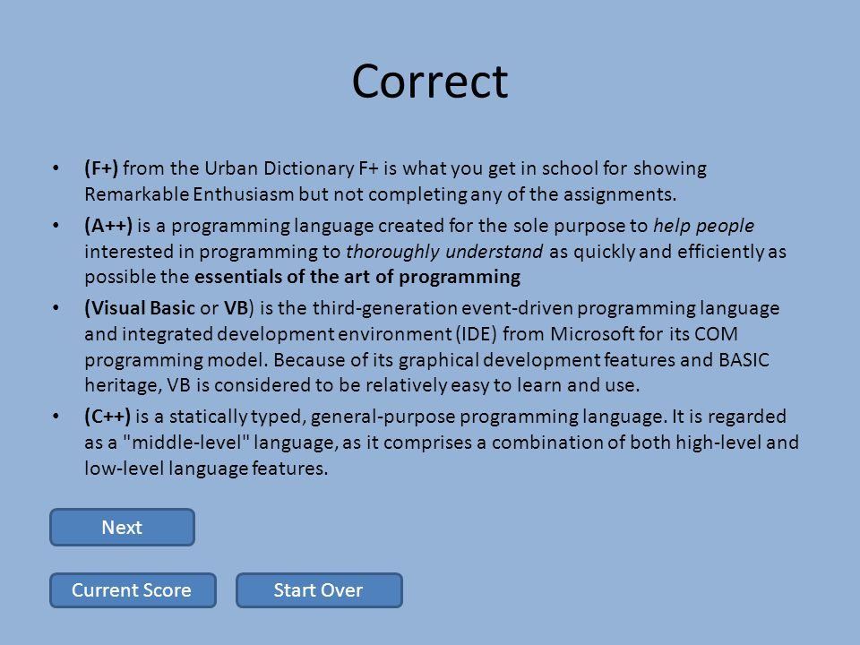 Correct (F+) from the Urban Dictionary F+ is what you get in school for showing Remarkable Enthusiasm but not completing any of the assignments.