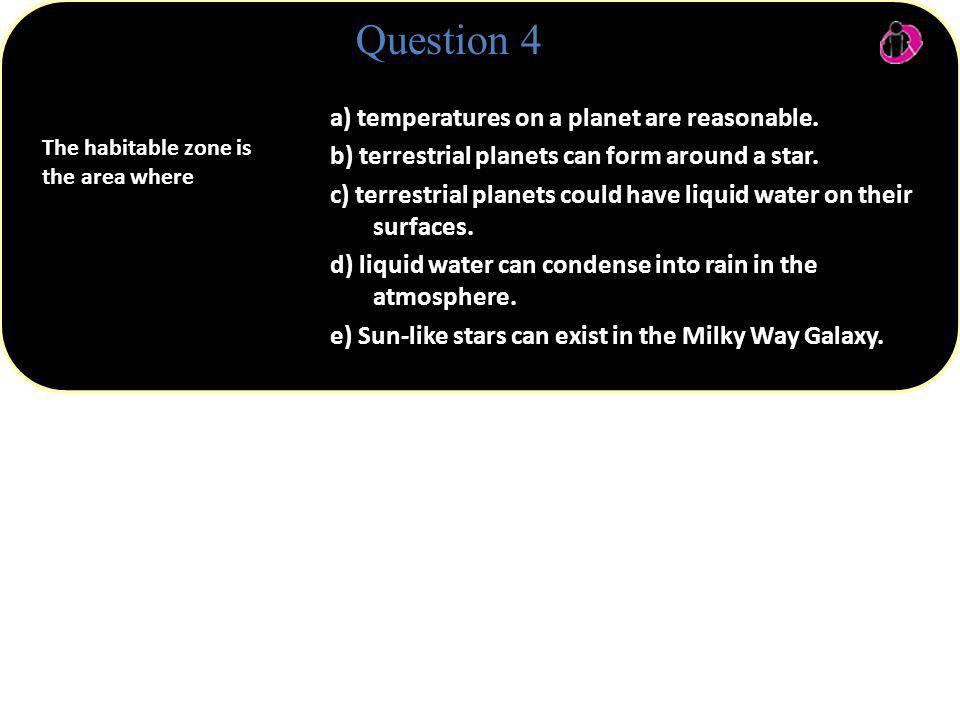 a) temperatures on a planet are reasonable. b) terrestrial planets can form around a star. c) terrestrial planets could have liquid water on their sur