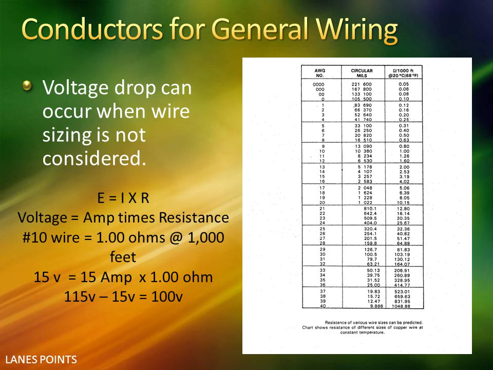 LANES POINTS Voltage drop can occur when wire sizing is not considered. E = I X R Voltage = Amp times Resistance #10 wire = 1.00 ohms @ 1,000 feet 15