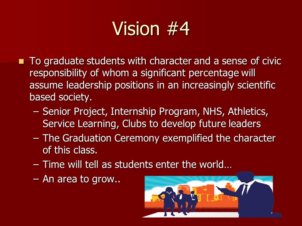 Vision #4 To graduate students with character and a sense of civic responsibility of whom a significant percentage will assume leadership positions in