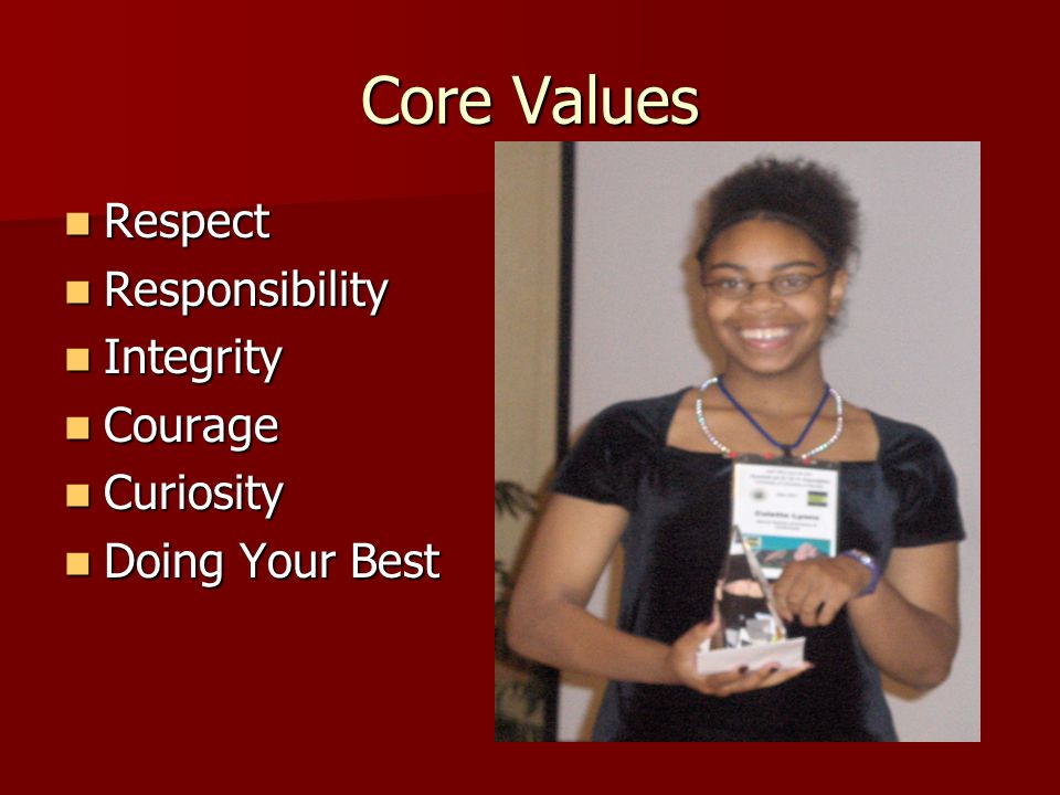 Core Values Respect Respect Responsibility Responsibility Integrity Integrity Courage Courage Curiosity Curiosity Doing Your Best Doing Your Best