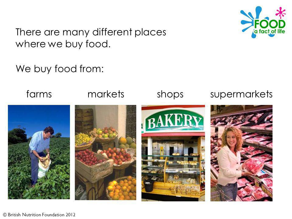 © British Nutrition Foundation 2012 There are many different places where we buy food.