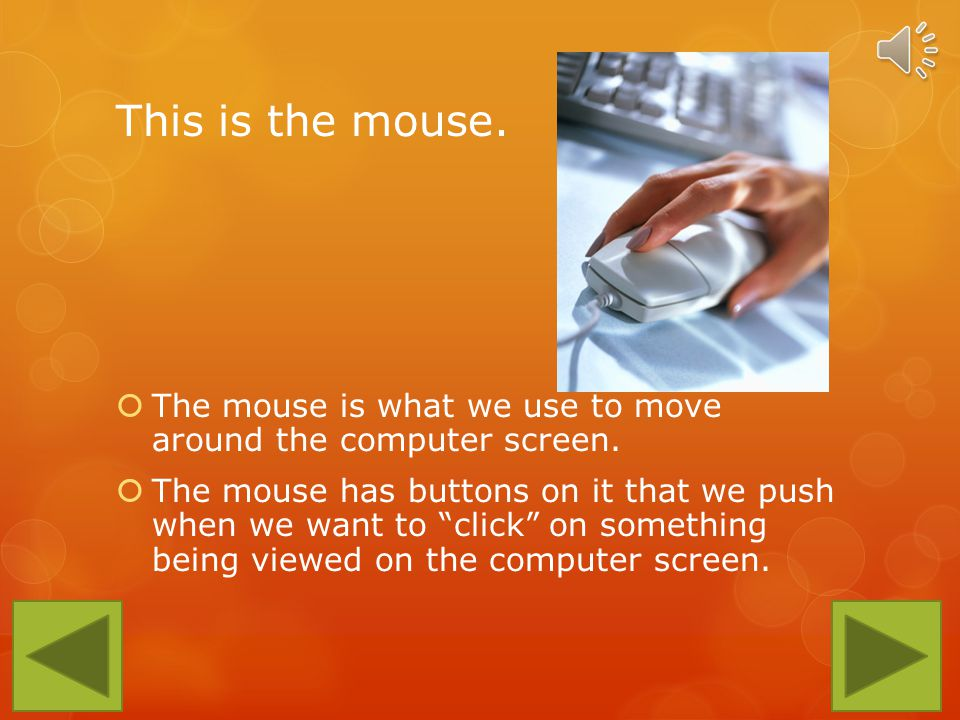 This is the mouse.The mouse is what we use to move around the computer screen.