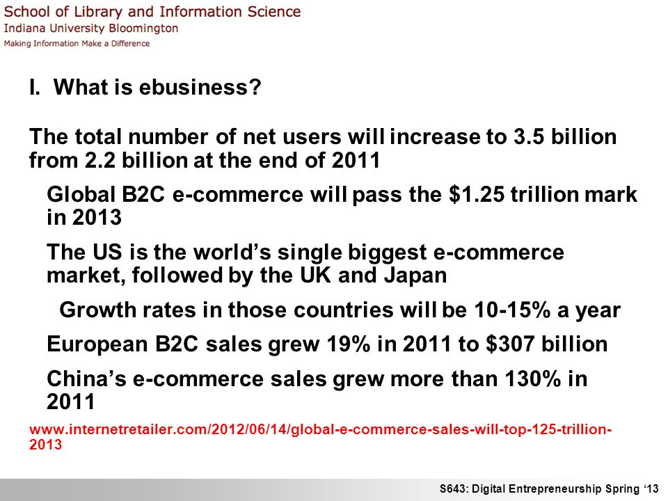 S643: Digital Entrepreneurship Spring 13 I. What is ebusiness? The total number of net users will increase to 3.5 billion from 2.2 billion at the end