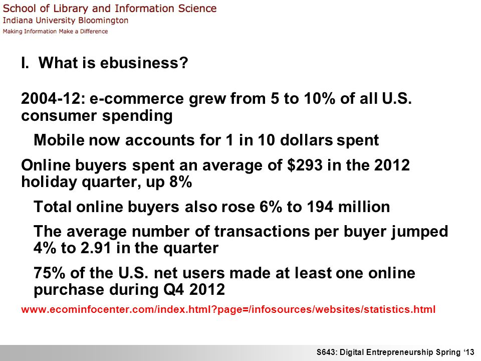 S643: Digital Entrepreneurship Spring 13 I. What is ebusiness? 2004-12: e-commerce grew from 5 to 10% of all U.S. consumer spending Mobile now account