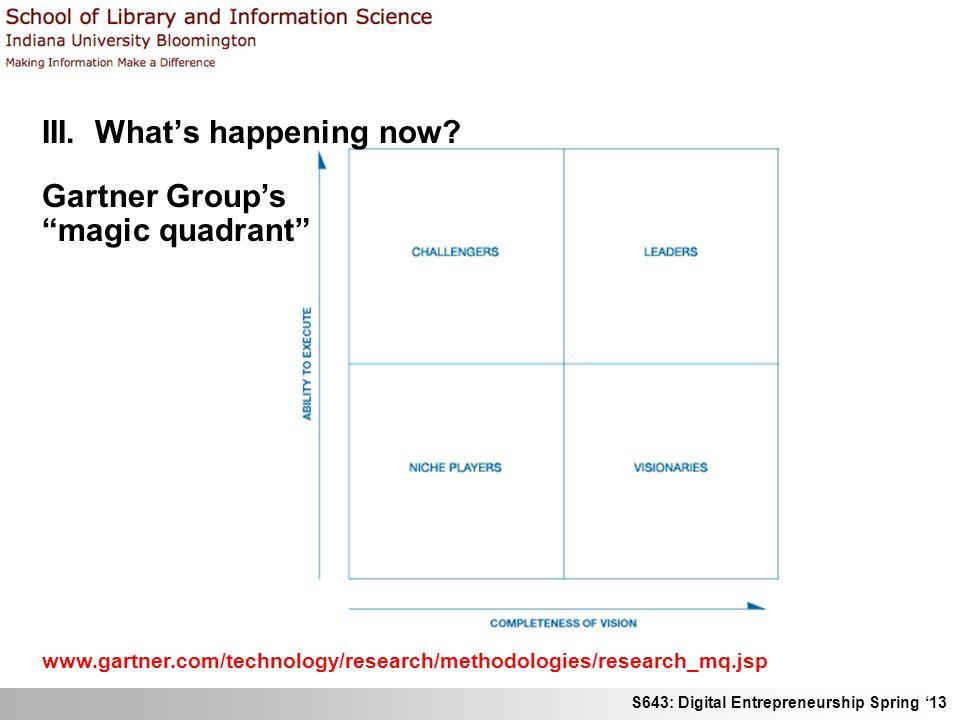 S643: Digital Entrepreneurship Spring 13 III. Whats happening now? Gartner Groups magic quadrant www.gartner.com/technology/research/methodologies/res