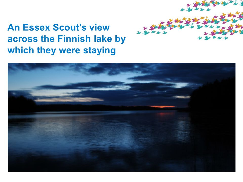 An Essex Scouts view across the Finnish lake by which they were staying