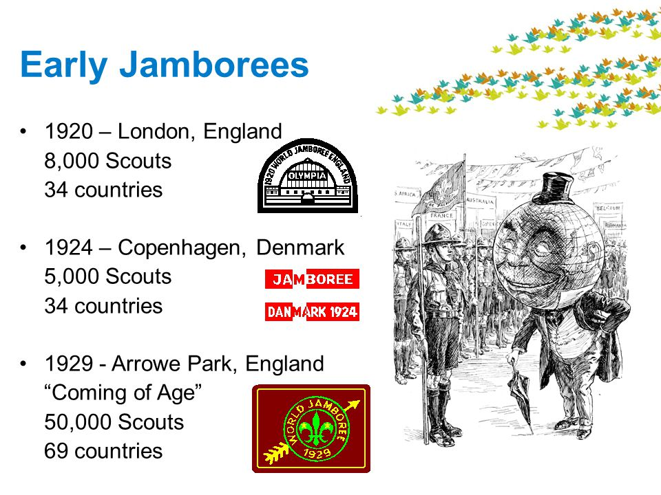 Early Jamborees 1920 – London, England 8,000 Scouts 34 countries 1924 – Copenhagen, Denmark 5,000 Scouts 34 countries 1929 - Arrowe Park, England Coming of Age 50,000 Scouts 69 countries