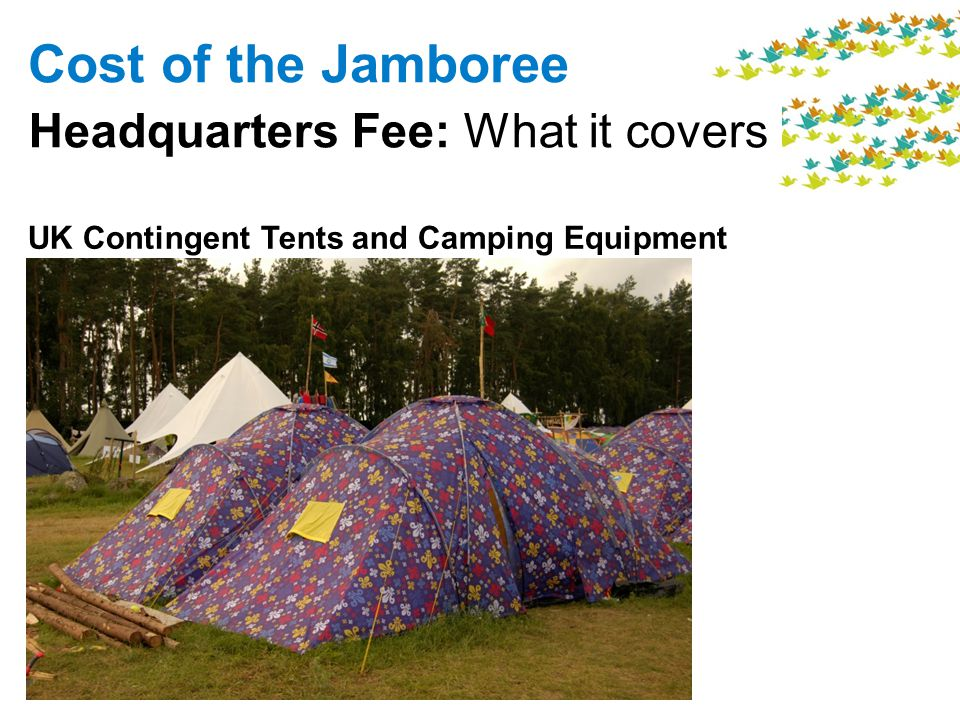 Cost of the Jamboree Headquarters Fee: What it covers UK Contingent Tents and Camping Equipment