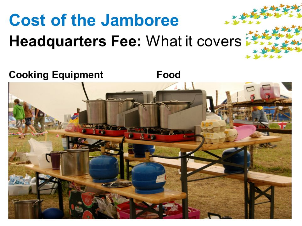 Food Cost of the Jamboree Headquarters Fee: What it covers Cooking Equipment