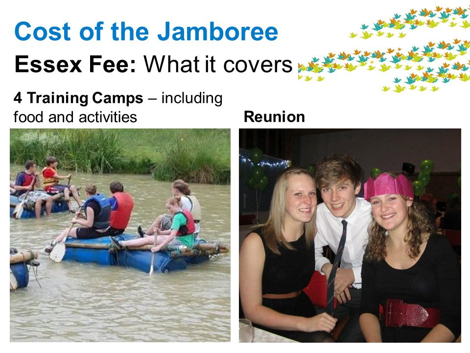 Reunion Cost of the Jamboree Essex Fee: What it covers 4 Training Camps – including food and activities