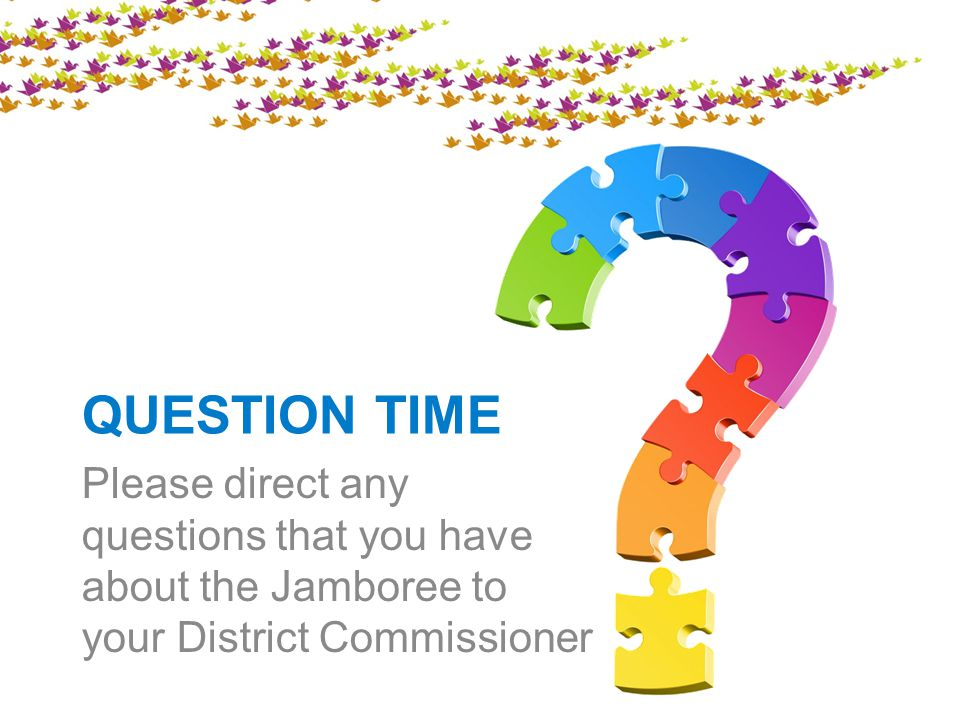 QUESTION TIME Please direct any questions that you have about the Jamboree to your District Commissioner